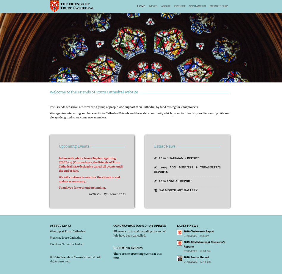 Friends of Truro Cathedral | website design by Awenek