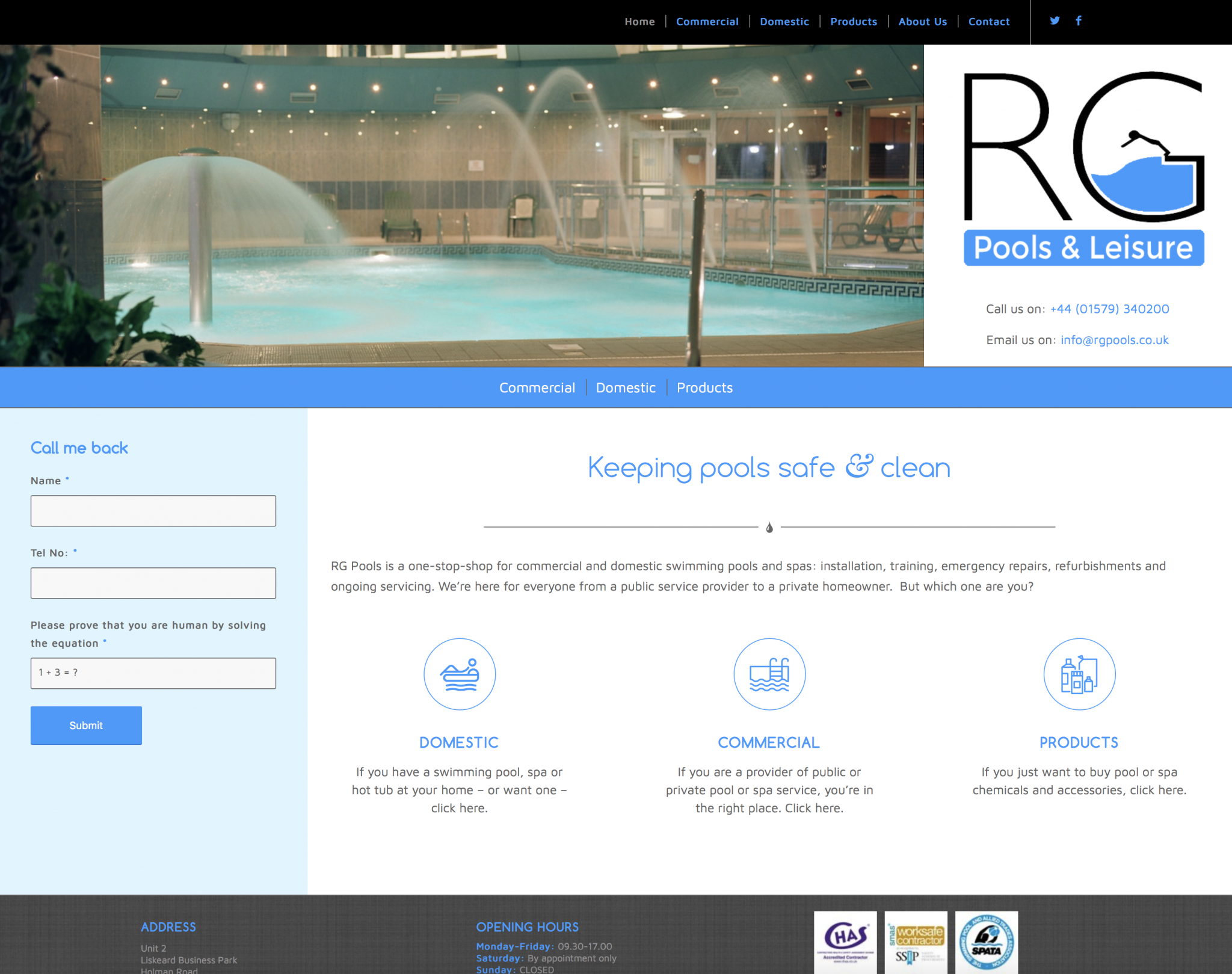 RG Pools & Leisure Ltd | website design by Awenek